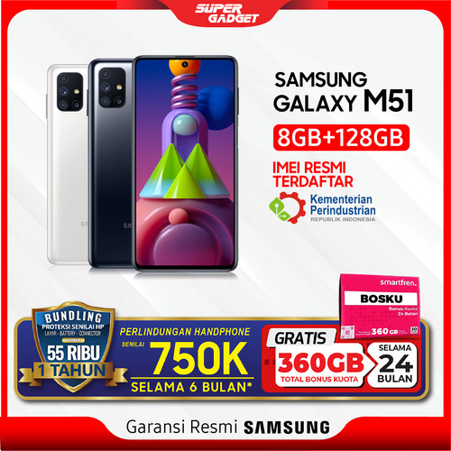 Foto Produk Samsung M51 8/128 GB Galaxy Amoled Plus RAM 8 ROM 128 8/128GB 7000 mAh - White, Non Bundle dari SUPER_GADGET