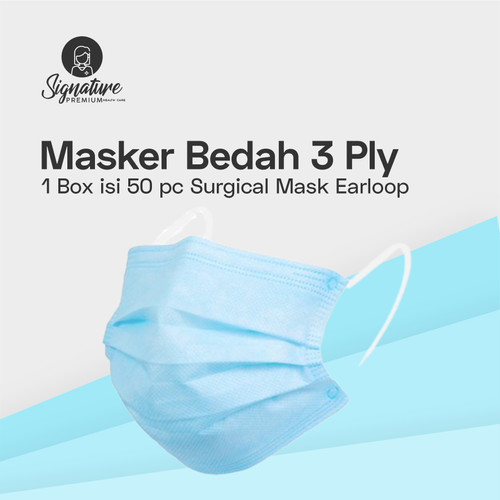 Foto Produk Masker 3 Ply Bedah Medis / Surgical Earloop by Signature   Harga / Box - Biru Muda dari Signature Auto Care