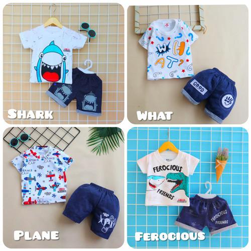 Foto Produk Setelan Baju Anak Bayi Laki-laki 6-12 bulan Bahan Katun Adem Motif Ai - Shark dari Yotie Shop