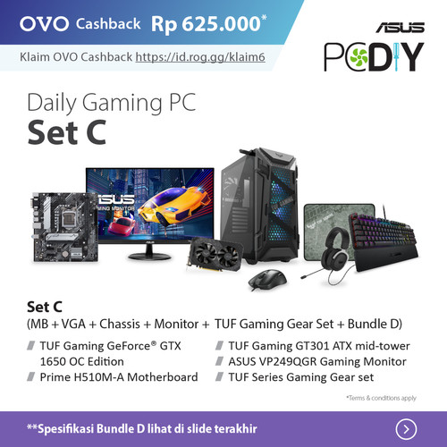 Foto Produk PBA ASUS Powered By ASUS - Daily Gaming PC set package ABC GTX 1650 OC - set C + D dari YOUNGS COMPUTER