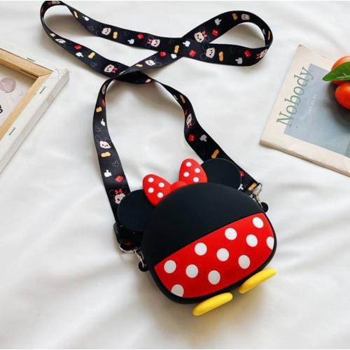 Foto Produk Semua Gratis - Tas Selempang Anak / Tas Anak Jelly Rubber Karakter - Minnie Bulat dari Semua Gratis