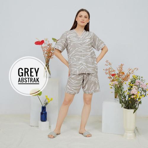 Foto Produk BAJU TIDUR WANITA / PIYAMA DEWASA VNECK CELANA PENDEK KATUN ADEM - GREY ABSTRAK dari Baju tidur dewasa wanita import