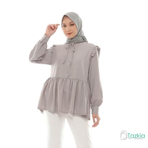 Foto Produk Atasan Muslim Wanita   Casia Blouse Abu   M L XL   Tazkia Hijab - XL dari Tazkia Hijab Store