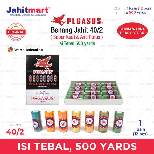 Foto Produk BENANG JAHIT 500 YARD MERK PEGASUS 1 BOX ISI 1 LUSIN (12 PCS) dari jahitmart