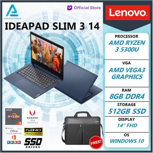 Foto Produk Lenovo Ideapad Slim 3 14 Ryzen 3 5300 8GB 512ssd Vega5 W10+OHS 14.0FHD - gold, nonantigores dari Gaming Laptop ID