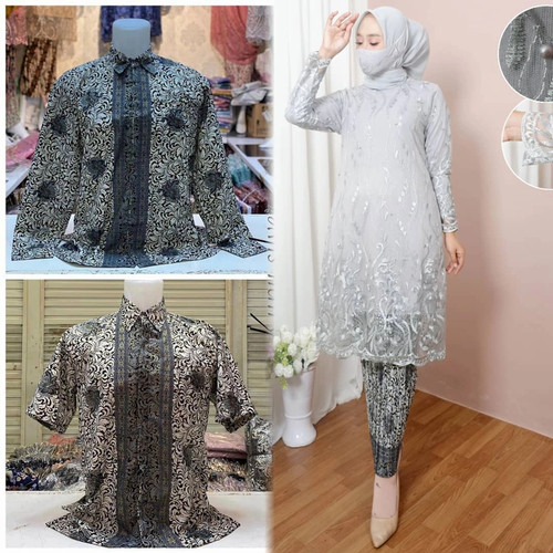 Foto Produk Set Couple Kebaya Tunik Modern / Baju Couple Kondangan / Kebaya Brokat - Silver, M dari GalleryHiyon