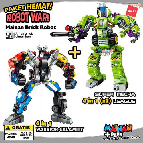 Foto Produk PAKET MAINAN LEGO ANAK LAKI LAKI QMAN ROBOT WAR MOBIL KENDARAAN TEMPUR dari MainanPlus