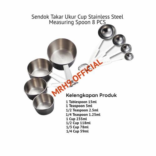 Foto Produk Sendok Takar Ukur Cup Stainless Steel Measuring Spoon 8 PCS dari MRH9 Official