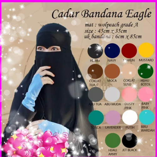 Foto Produk niqob bandana eagle eye//cadar bandana mata elang - Hitam dari Azizah28shop