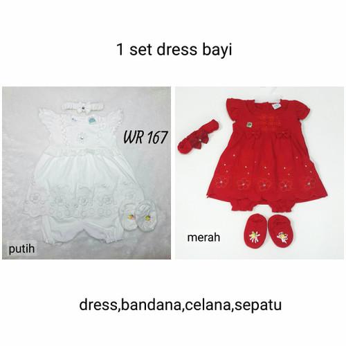 Foto Produk Baju Bayi Perempuan 1 Set Dress Akikah Aqiqah Baptis Newborn Putih - putih set bando dari Nuning Ningrum Shop
