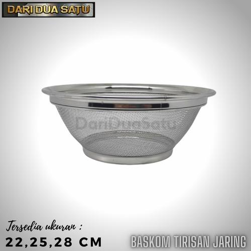 Foto Produk Baskom Saringan Jaring Stainless Tirisan Gorengan Cuci Beras Buah - 22 cm dari DariDuaSatu