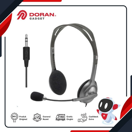 Foto Produk Logitech H111 Wired Stereo Headset with Noise Cancelling Microphone dari Doran Gadget