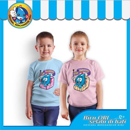 Foto Produk Kaos Atasan Anak Laki-laki Perempuan Lucu Stay Awesome - Biru ORI dari Air Minum Biru