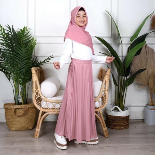 Foto Produk Rok Plisket Premium Anak By. Mayzaa   Rok Pleats Premium (Varian 2) - Dusty Pink, M dari Mayzaa