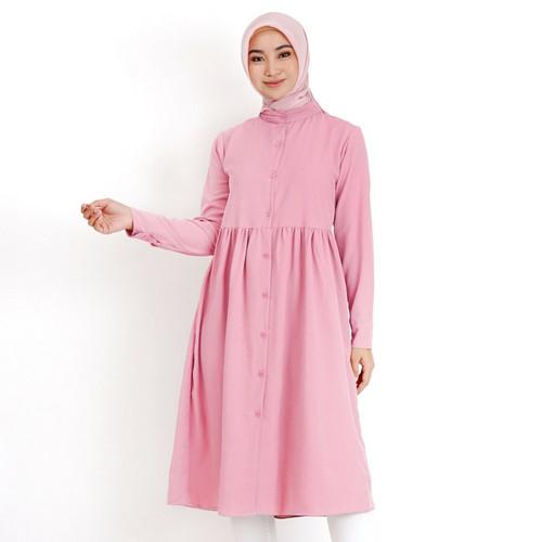 Foto Produk Nayla Tunik Ruffle 801 By. Mayzaa - Dusty Pink, L dari Mayzaa