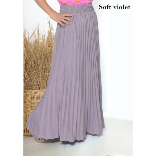 Foto Produk Rok Plisket Premium Anak By. Mayzaa  Rok Pleats Premium (Varian 3) - Soft Violet, M dari Mayzaa