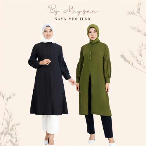 Foto Produk Nava Tunik Long By. Mayzaa - Black, L dari Mayzaa
