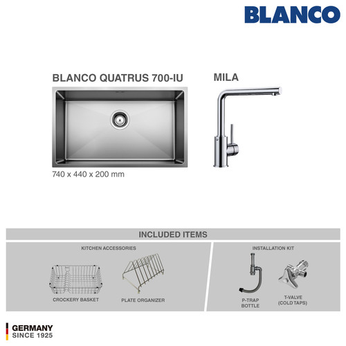 Foto Produk BLANCO Quatrus 700-IU + Kran BLANCO Mila Chrome - Cold Taps dari BLANCO Official Store