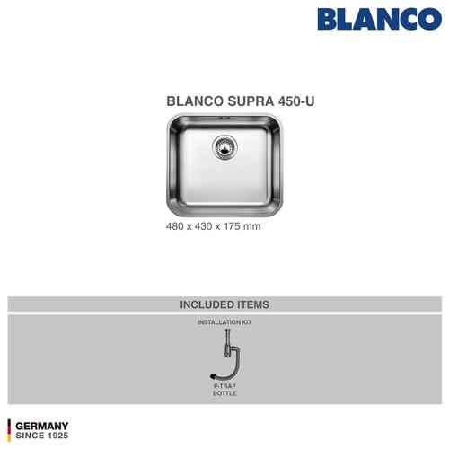 Foto Produk BLANCO Supra 450-U Kitchen Sink - Bak Cuci Piring Stainless Steel dari BLANCO Official Store