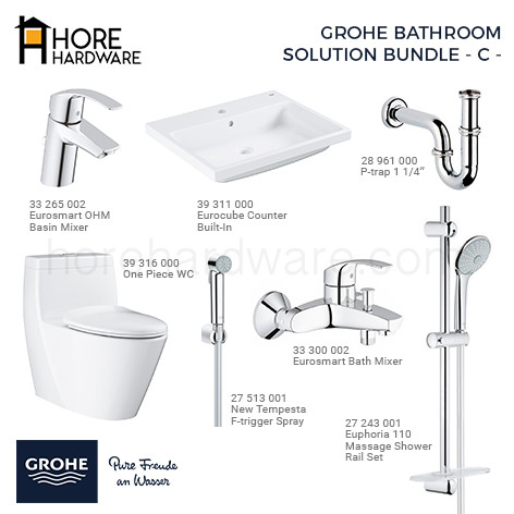 Foto Produk GROHE Paket Eurosmart Complete Bathroom Solution Bath & Shower Set dari HORE Hardware