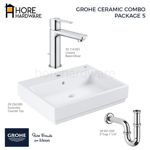 Foto Produk GROHE Paket Lineare Eurocube Basin Wastafel 39234000 + 32114001 dari HORE Hardware
