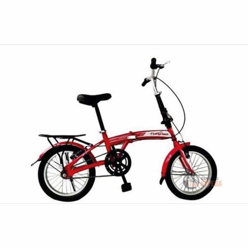 Foto Produk Sepeda Lipat Evergreen 16 Impor Termurah Original SNI 1 speed 1s murah - Red dari GUDANG SEPEDA OFFICIAL