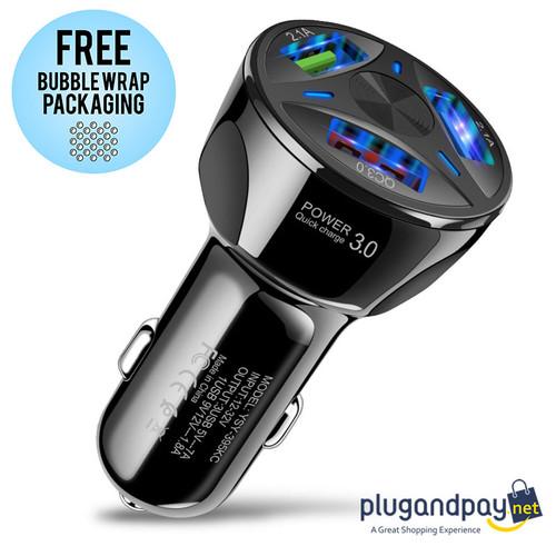 Foto Produk Car Charger Mobil USB 3 Port 2.1A QC3.0 Handphone Smartphone HP dari plugandpay
