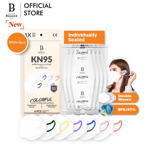 Foto Produk Masker KF94 EVO Premiere Beaute 3D Banyak Warna 6pcs Colorful Edition - Putih dari Premiere Beaute Official