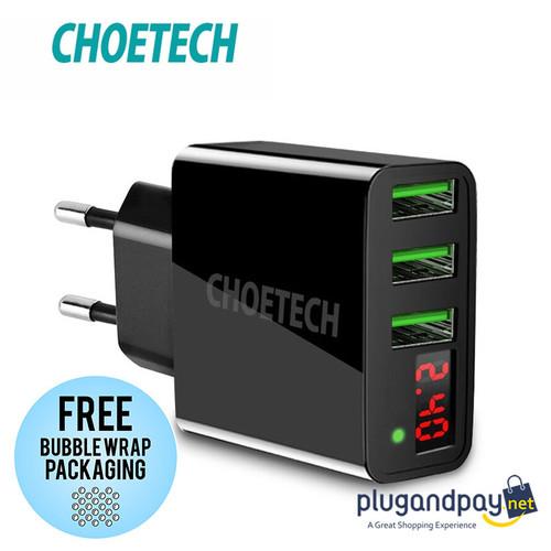 Foto Produk CHOETECH Charger USB 3 Port 3A with LED Display Adaptor Adapter USB dari plugandpay