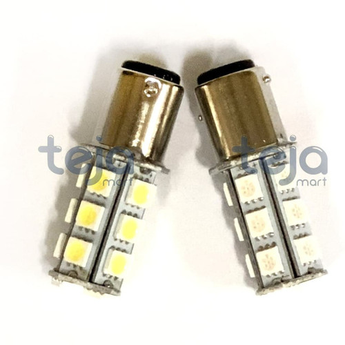 Foto Produk Lampu LED Rem Stop Bayonet 18 Mata Manteng/Diam Mobil Motor Kaki 2 DC - Putih dari TejaMart
