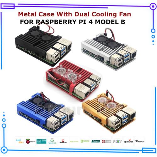 Foto Produk Raspberry Pi 4 - Metal Case Double Fan - Hitam dari Khurs IOT
