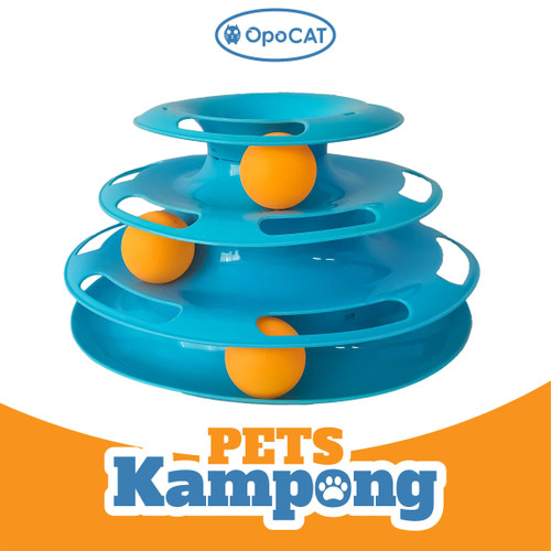 Foto Produk Mainan interaktif Kucing Play Toy 3 Tower bola track 3 tingkat Opo Cat - Biru Muda dari Pets Kampong