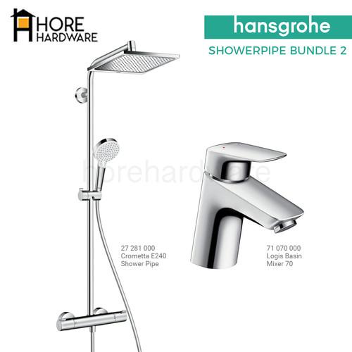 Foto Produk HANSGROHE Paket Showerpipe Shower Tiang + Kran Wastafel Bundle 2 dari HORE Hardware