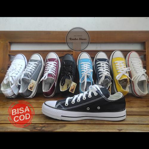 Foto Produk converse allstar black sepatu hitam sekolah kuliah unisex - Hitam, 36 dari ravka shoes
