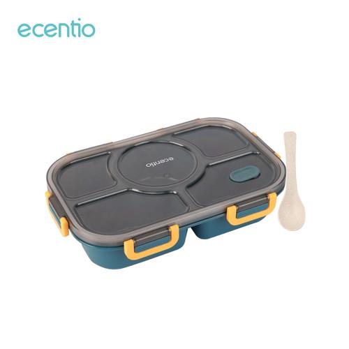 Foto Produk ecentio 1400ml 5 kisi kotak bekal makan siang peralatan makan gratis - Biru dari ecentio Official Store