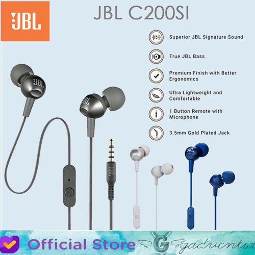 Foto Produk HANDSFREE JBL C200SI In-Ear HEADPHONE HEADSET JBL C200SI ORIGINAL - Biru dari GADVENTIA Official Store