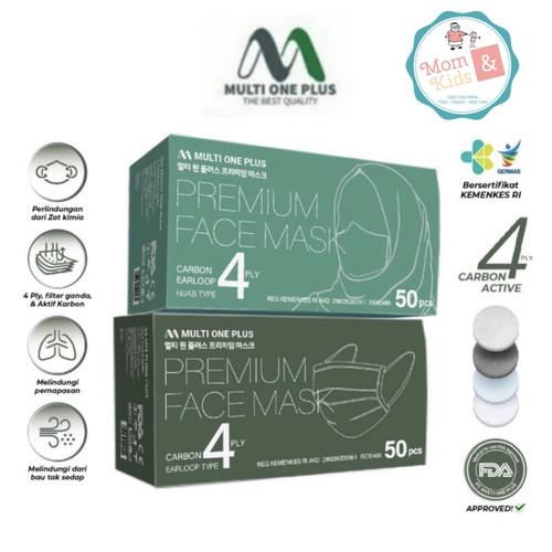 Foto Produk Masker Medis Multi One Plus 4 Ply Carbon (50 pcs) - Earloop, Hijau dari Toko Susu Mom n Kids
