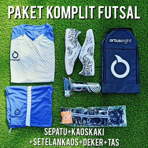 Foto Produk BISA COD Paket komplit sepatu futsal Ortus catalist biru putih - komplit 40, size baju XL dari fajarimamsya