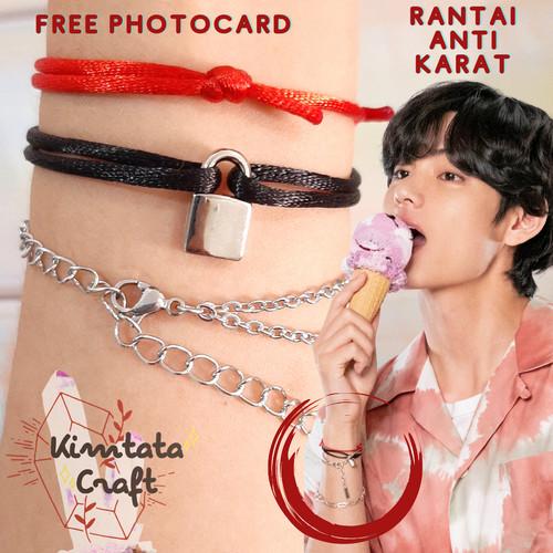Foto Produk Gelang Taehyung V BTS /Taehyung V Lock Bracelet Kpop Idol Charm (1Set) - SET Tali Satin dari KimtataCraft
