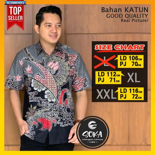 Foto Produk Baju Batik anak muda Modern Lengan pendek Blok Warna katun halus - Biru, L dari Soka Batik