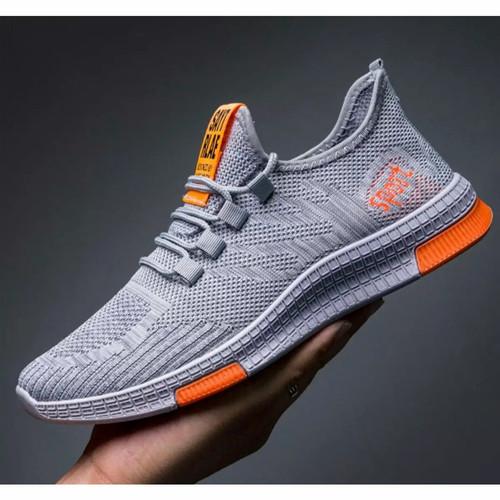 Foto Produk Sepatu pria sneaker running shoes fearlees run RR01 - abu,striporange, 39 dari Sepatubustong