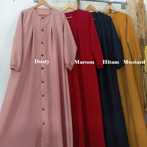 Foto Produk Baju Gamis Syari Wanita Terbaru Aleva Dress Jumbo Full Kancing Murah - Maroon dari hijabafwa
