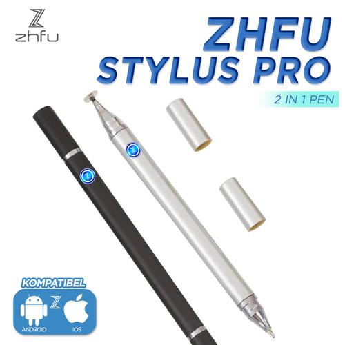 Foto Produk ZHFU STYLUS PRO 2 IN 1 PEN ANDROID APPLE IOS BOLPEN BALLPOINT TABLET - PHANTOM BLACK dari ZHFU INDONESIA