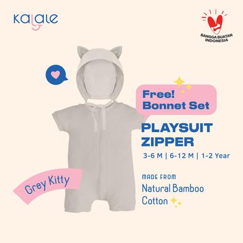 Foto Produk Playsuit Bonnet Set (Romper / Jumper Anak dan Bayi) - Kalale - Grey - 3-6 Bulan dari kalale