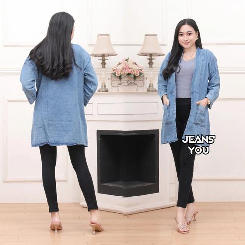 Foto Produk Cardigan Jeans Wanita Cardigan Wanita Denim All Size Jumbo - Snow blue, All Size dari JEANS' YOU