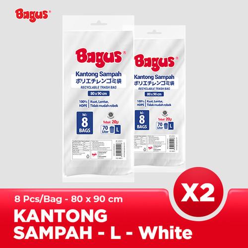 Foto Produk [Twinpack] Bagus Kantong Sampah L (8) Uk. 80 cm x 90 cm (70 L) - White dari Bagus Official Store