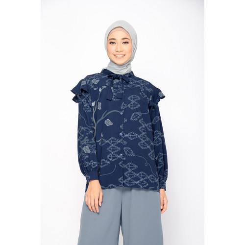 Foto Produk ZM Zaskia Mecca - Deryl Navy Blouse Jelita Indonesia Pulau Muna - XXL dari Zaskia Mecca Official