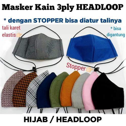 Foto Produk Masker kain 3 lapis hijab / masker 3 ply headloop - Hitam PolosHST6 dari KKJ Jaya888