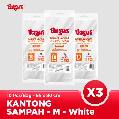 Foto Produk [Triple Packs] Bagus Kantong Sampah M 10 Uk. 65 cm x 80 cm (45 L) - White dari Bagus Official Store