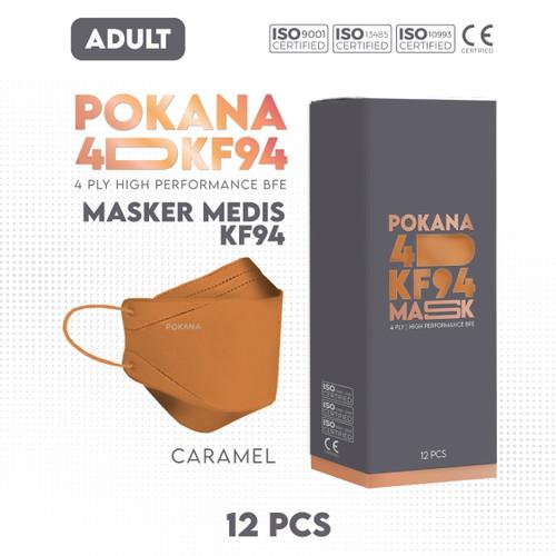 Foto Produk POKANA 4D KF94 Earloop Medical Face Mask - Box isi 12 pcs ( Color ) - Caramel Orange dari Pokana Shop